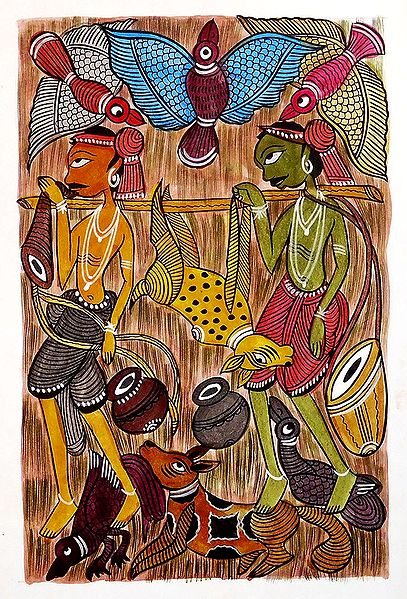 Tribal Hunters - Kalighat Painting
