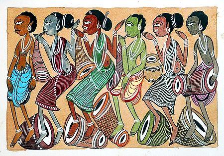 Santhal Musicians - Kalighat Painting