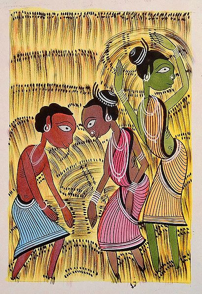 Harvesting Season - Kalighat Painting