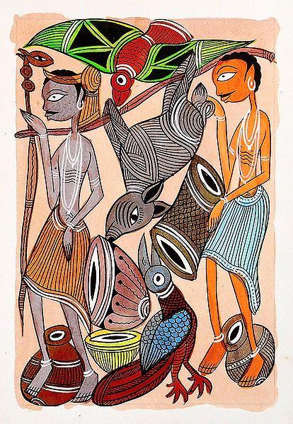Tribal Hunters - Kalighat Painting