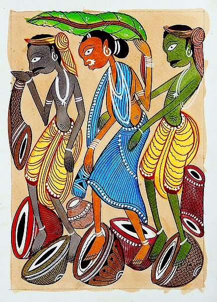 Tribal Musicians - Kalighat Painting