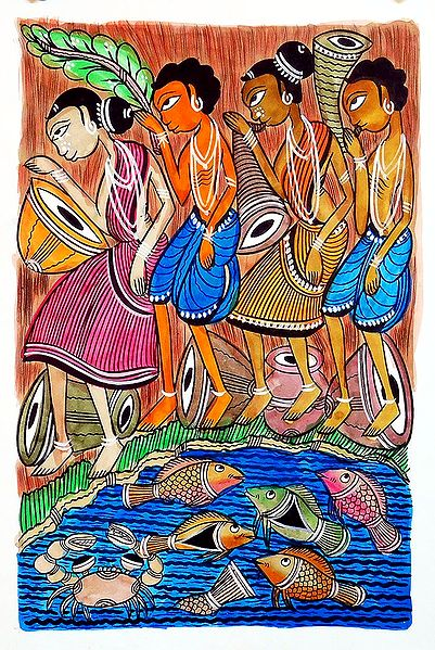 Riverside Tribal Dance - Kalighat Painting