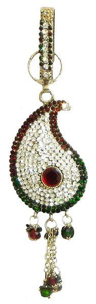 Faux Garnet,Emerald and Zirconia Studded Chabi Challa
