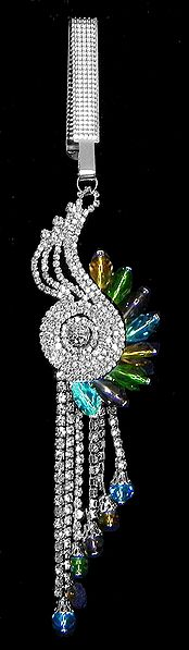 Faux Zirconia Studded Designer Chabi Challa with jhalar and Multicolor Crystal Beads