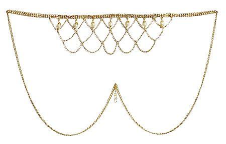 White Stone Studded Golden Kamarband