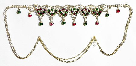 Maroon and Green Crysal Bead and White Stone Studded Kamarband