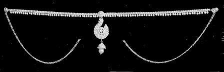 White Bead and Stone Studded Kamarband