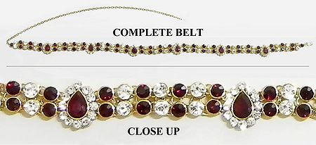 Faux Garnet and White Zirconia Studded Gold Plated Kamarband
