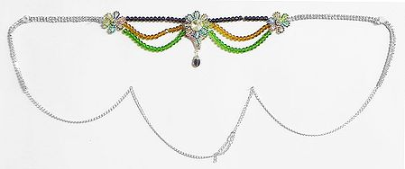Multicolor Crystal Beads and White Stone Studded Kamarband