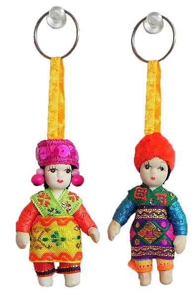 Set of 2 MIniature Costume Doll Key Rings