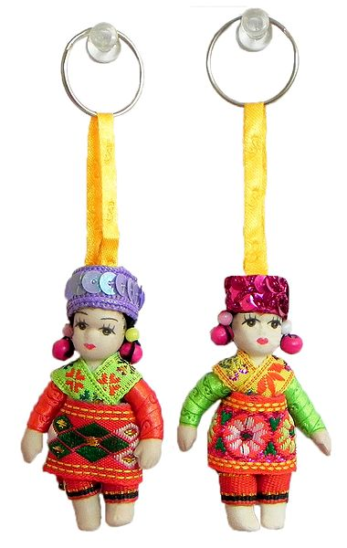 Set of 2 Scottish Dancers Doll Key Rings