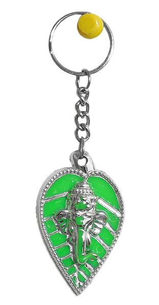 Acrylic Ganesha on Leaf Key Ring