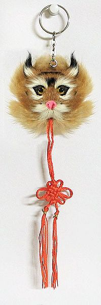 Key Chain with Synthetic Wild Cat