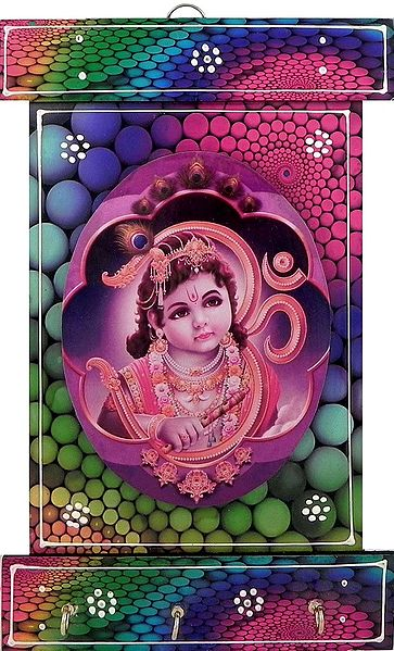 Krishna Print on Wooden Key Rack with Three Hooks - Wall Hanging