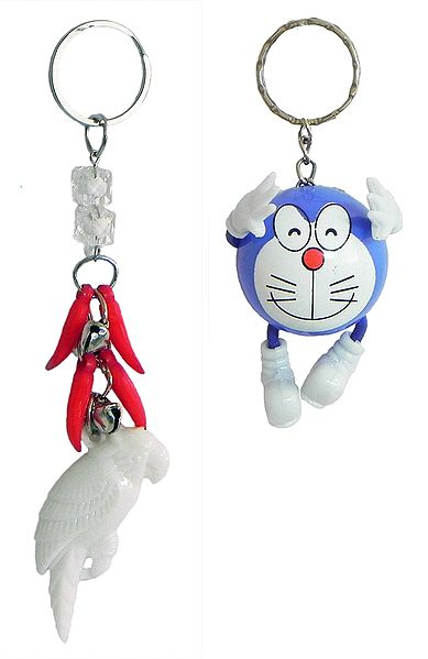 Set of 2 Key Ring with Doraemon and White Parrot