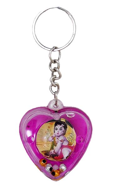 Heart Key Chain with Krishna Picture