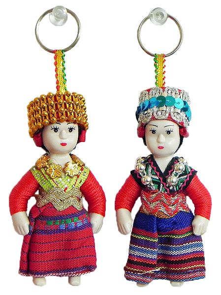 Set of 2 Uzbekistan Doll Key Rings