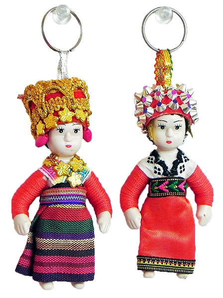 Set of 2 Greece Costume Doll Key Rings
