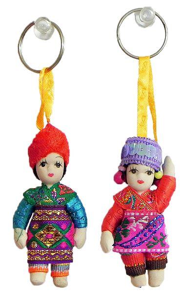 Set of 2 Bulgarian Dancers Doll Key Rings
