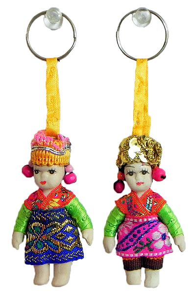 Set of 2 Spanish Doll Key Rings