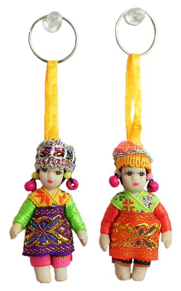 Set of 2 Costume Doll Key Rings