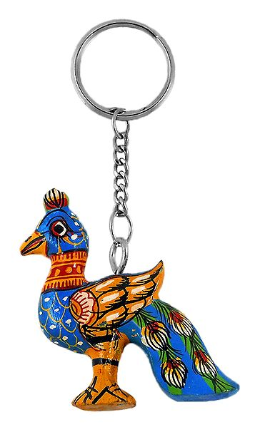 Wooden Peacock Key Chain