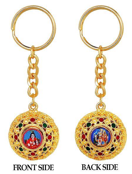 Double Sided Key Ring - Bal Gopal and Radha Krishna