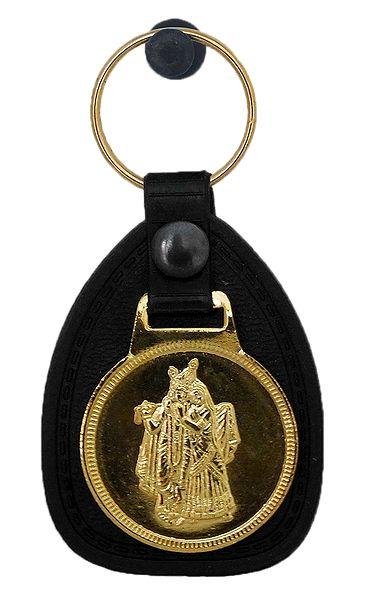 Key Ring with Metal Radha Krishna