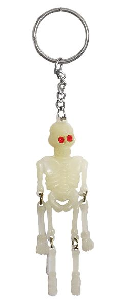 Metal Key Chain with Synthetic Skeleton