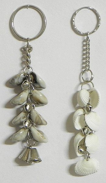 Set of 2 Bunch of Shell Key Chains with Bells
