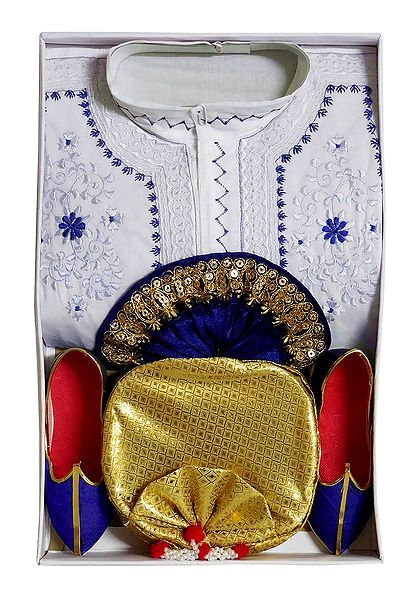 Bengal Ethnic Dress - White Embroidered Kurta, Blue Dhoti with Golden Pagri and Shoe