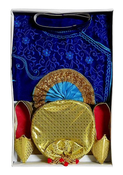 Bengal Ethnic Dress - Embroidered Cyan Kurta, Maroon Dhoti with Golden Pagri and Shoe