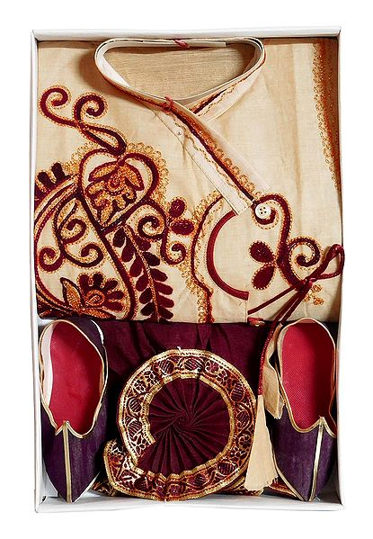 Bengal Ethnic Dress - Embroidered Beige Kurta, Maroon Dhoti with Golden Pagri and Shoe