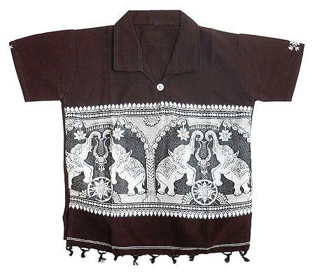 Dark Brown Half Sleeve Short Kurta with Baluchari Design for Young Boy