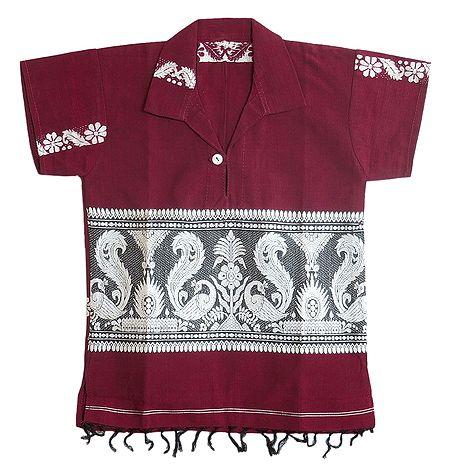Dark Red Half Sleeve Short Kurta with Baluchari Design for Young Boy