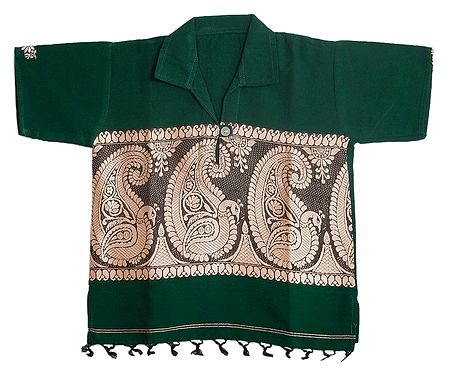 Dark Green Half Sleeve Short Kurta with Baluchari Design for Baby Boy