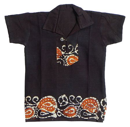 Dark Brown Batik Short Kurta