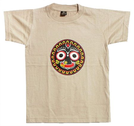 Printed Jagannathdev Face on Beige T-Shirt