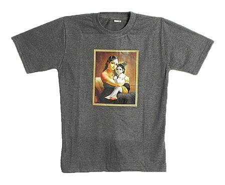 Printed Yashoda Krishna on Dark Grey T-Shirt