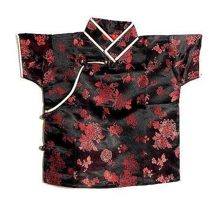 Black with Red Woven Brocade Silk Finish Short Sleeve Kurta