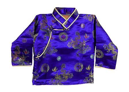 Dark Blue with Golden Woven Brocade Silk Finish Kurta