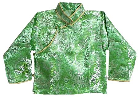 Green with White Woven Brocade Silk Finish Full Sleeve Kurta