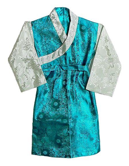 Cyan with White Brocade Silk Sikkimese Dress