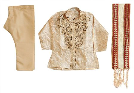Embroidered Beige Kurta and Ready to Wear Dhoti with Chunni
