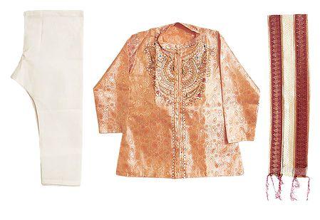White Churidar and Embroidered Peach Kurta with Chunni for Baby Boy