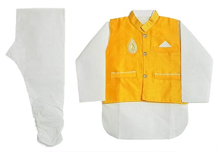 White Cotton Churidar Kurta with Raw Silk Yellow Jacket