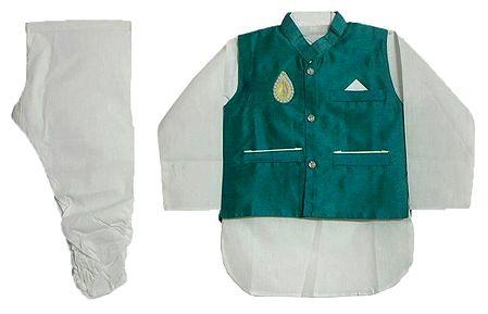 Modi Dress - White Cotton Churidar Kurta with Raw Silk Cyan Green Jacket