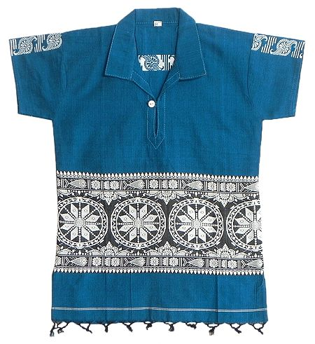 Cyan Blue Half Sleeve Short Kurta with Baluchari Weaved Design