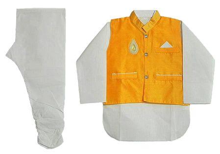 White Cotton Churidar Kurta with Raw Silk Yellow Jacket