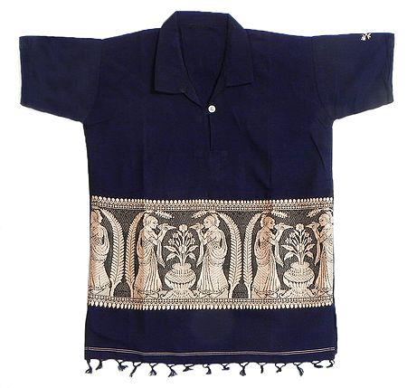 Dark Blue Half Sleeve Short Kurta with Baluchari Weave Design